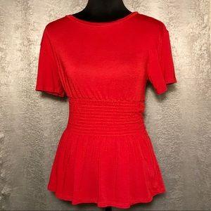 Feminine Peplum-Style Red Top